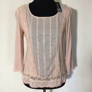 Cable & gauge peach blouse S new with tags
